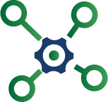 Icon representing the interconnection of all facets of the healthcare industry