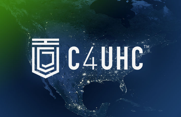 C4UHC logo over a high tech map of the United States